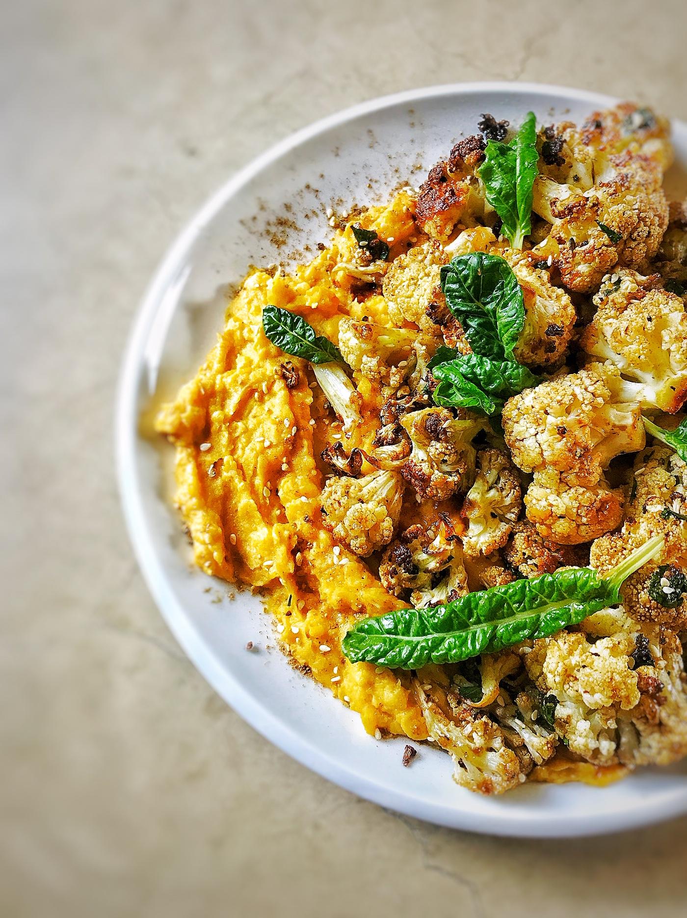Roasted Cauliflower Salad with Pumpkin and Butter Bean Hummus