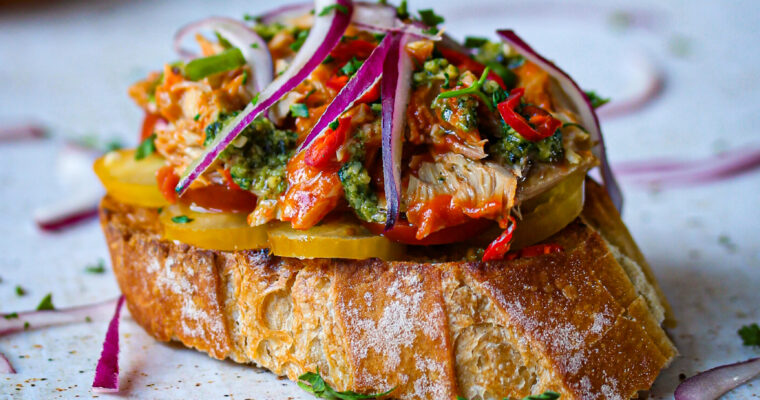 Mackerel Fillets with a delicious Basil Pesto served on a crusty baguette….. you will love it