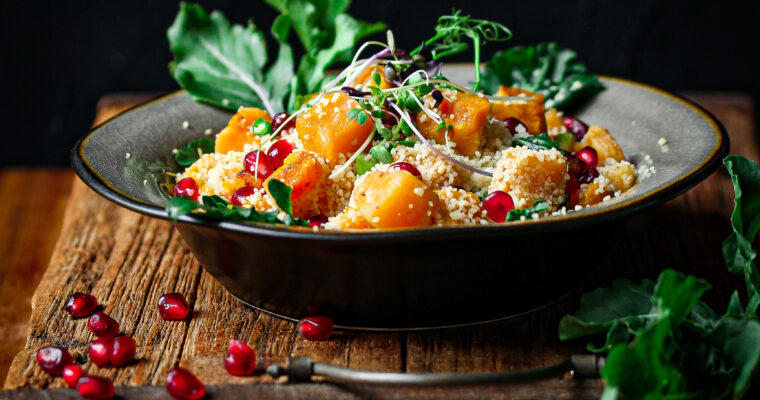 Roasted Pumpkin and Couscous Salad with pomegranate and rocket