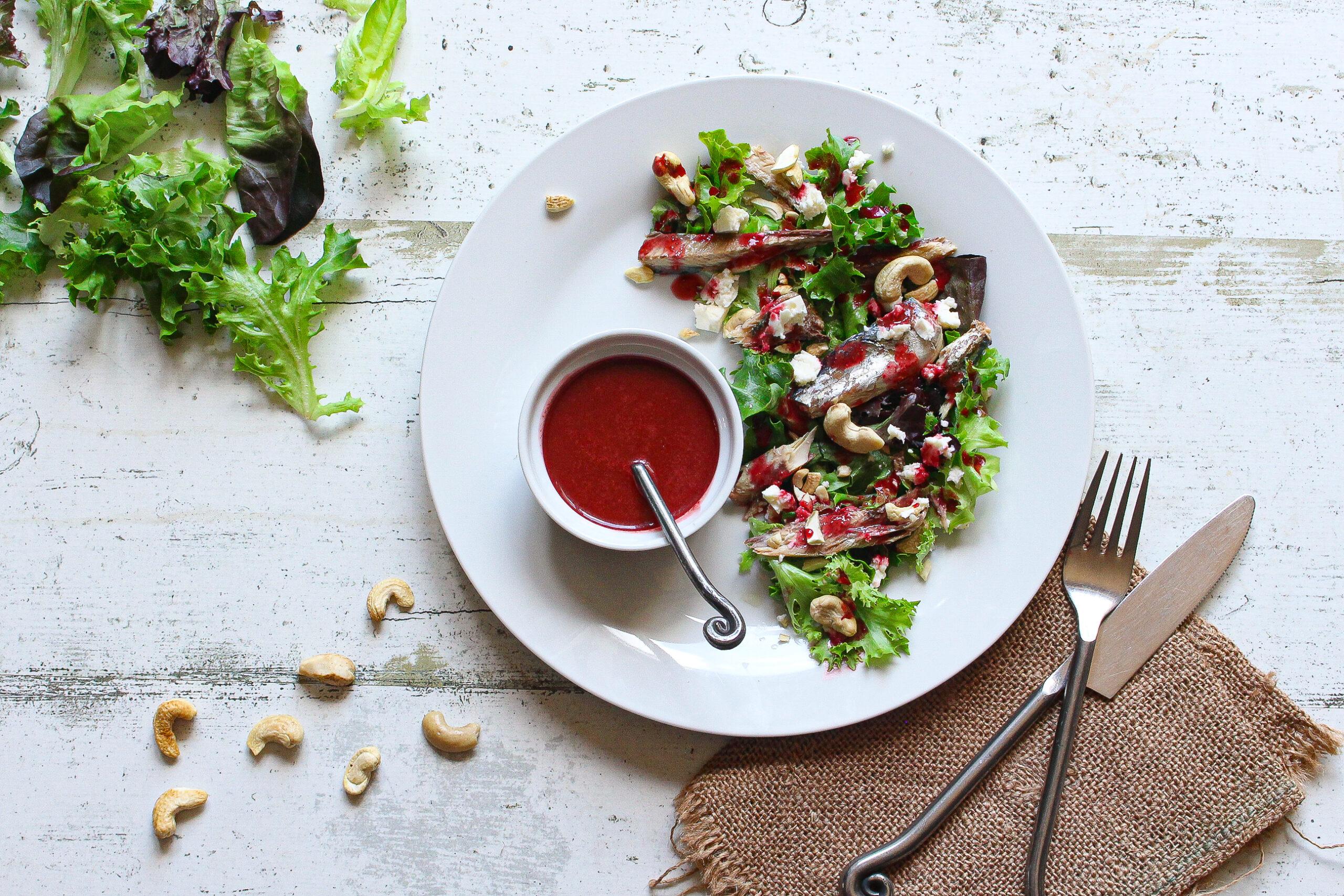 Mackerel and Cashew Nut Salad with Beetroot Vinaigrette