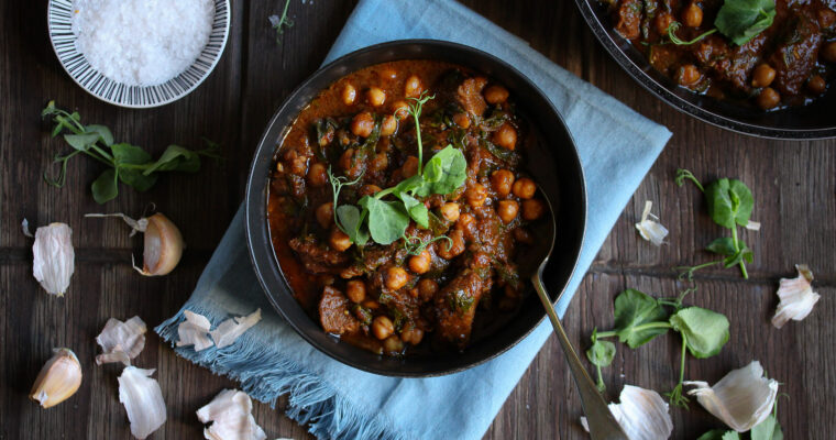 Moroccan Beef Stew with Chickpeas and Spinach